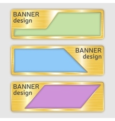 set of metallic textured banners web banners with vector image vector image