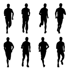 Set of silhouettes Runners on sprint men vector image vector image