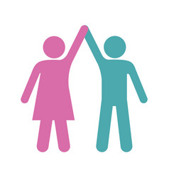 Silhouette color pictogram of couple taken of vector