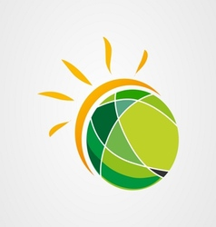 Sun earth logo icon vector image
