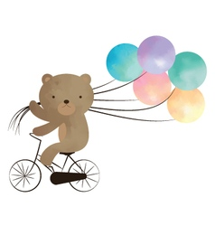 Teddy bear riding a bike with balloons vector