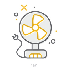Thin line icons fan vector