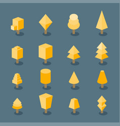trees set isometric vector image