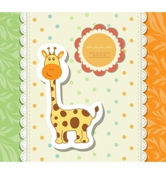 Vintage doodle little giraffe for greeting card vector