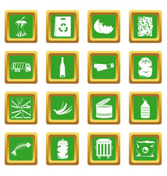 Waste and garbage icons set green vector