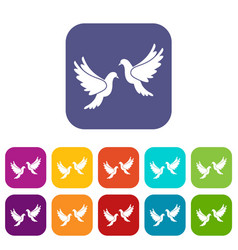 Wedding doves icons set vector
