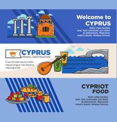 Welcome to cyprus commercial travel agency banners vector