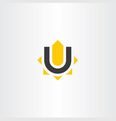 Yellow black letter u logo icon symbol vector