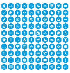 100 sport team icons set blue vector image vector image
