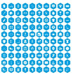 100 sport team icons set blue vector