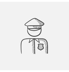 Policeman sketch icon vector