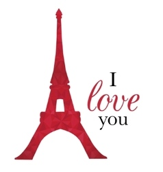 Ruby red eifel tower paris on st valentines vector