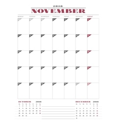 Calendar planner template for 2018 year november vector