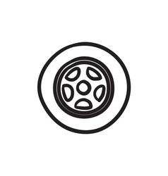 Car wheel sketch icon vector