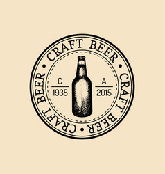 Kraft beer bottle logo lager retro sign hand vector