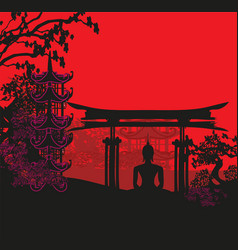 buddha and asian landscape vector image