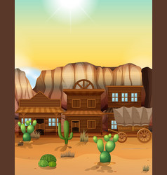 western town with buildings and wagon vector image
