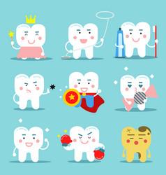human teeth characters in flat vector image