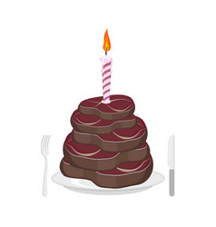 Meat cake steak and candle congratulations happy vector