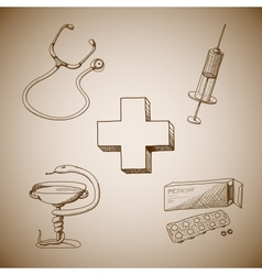 Collection of medical symbols vector
