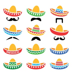 Mexican sombrero hat with moustache or mustache vector