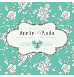 Vintage wedding floral card vector