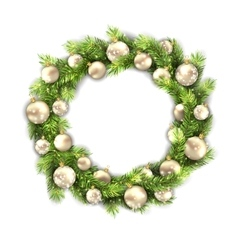 Christmas wreath with balls new year and vector