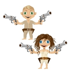 Man and woman armed with handguns two character vector