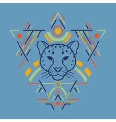 Leopard head in frame vector