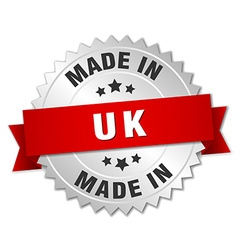 Made in uk silver badge with red ribbon vector