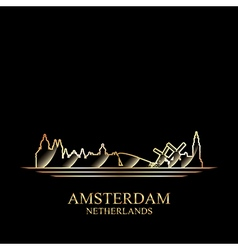 Gold silhouette of amsterdam on black background vector