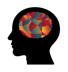 Abstract colorful curve shape human head brain vector