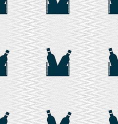 Beer bottle icon sign seamless pattern with vector