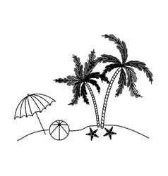 Black silhouette of beach with palm trees and vector