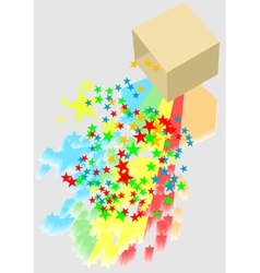 box and confetti vector image vector image