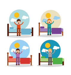 Boy and girl waking up in bed stretching sunny day vector