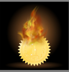 Burning gold medal icon with fire flame vector