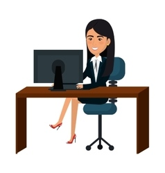 businesswoman working in computer vector image