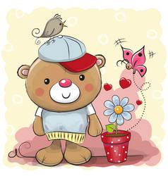 cute cartoon teddy bear with flower vector image vector image