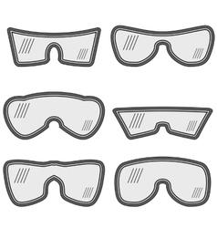 Different ski goggles vector