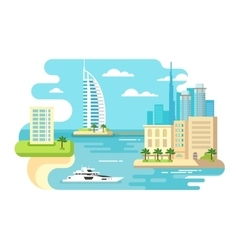 Dubai city beach skyline vector