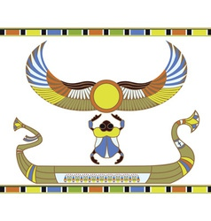 egyptian sun boat vector image