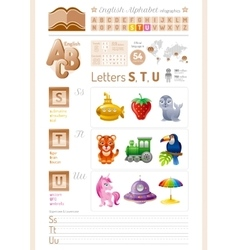 English alphabet ABC icon set vector image