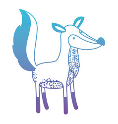 Fox cartoon in degraded blue to purple color vector