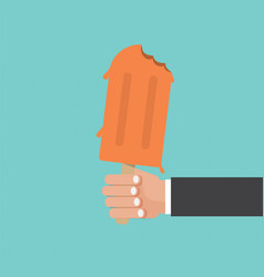 Hand holding popsicle vector