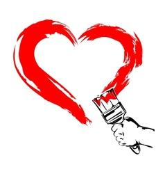 Heart paint brush hand vector