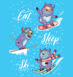 Holiday card with funny skiing yettis vector