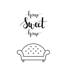 home sweet home lettering in a living room vector image vector image