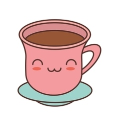 Kawaii pink cup beverage with plate vector