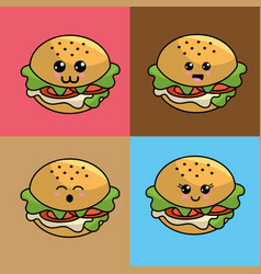 Kawaii set burger icon with beautiful expressions vector